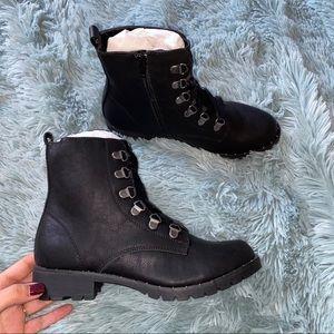 New Size 7 Black Vegan Leather Combat Boots